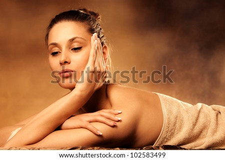 woman enjoy in spa salon - stock photo