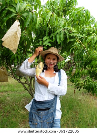woman enjoy with the mango in the garden.