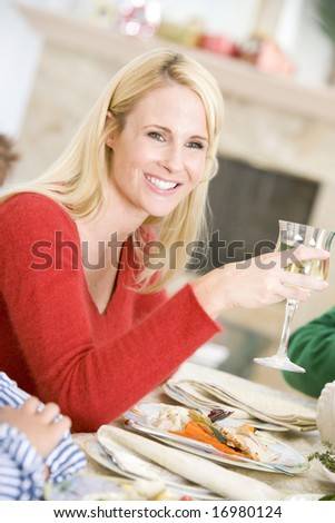 Woman Enjoying Christmas Dinner - stock photo