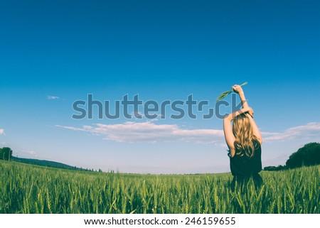 Woman enjoying freedom - stock photo