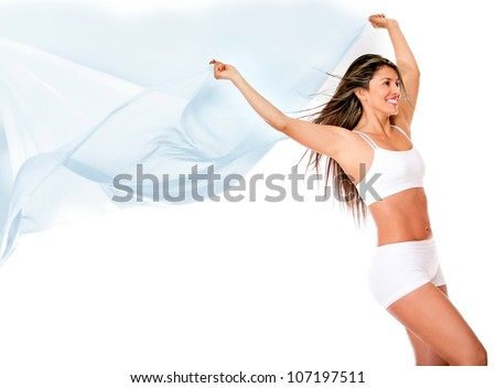 Woman enjoying freedom holding a sarong against the wind - isolated over white