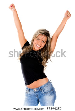 Woman enjoying her success with arms up - isolated over a white background - stock photo