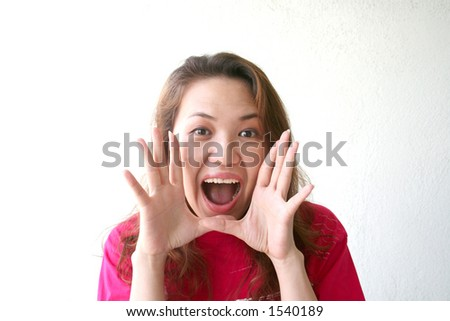 woman exciting & shouting - stock photo