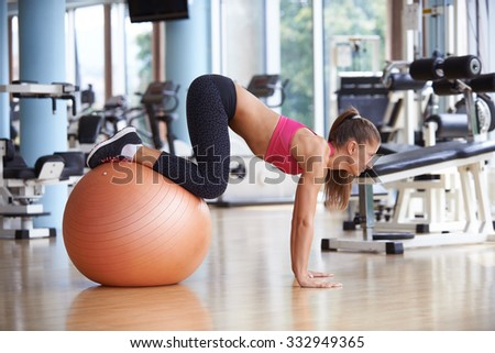 woman exercise pilates in fitness gym club