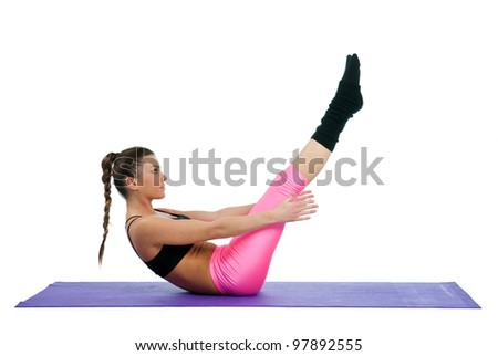 woman exercise stretching legs on the floor - stock photo