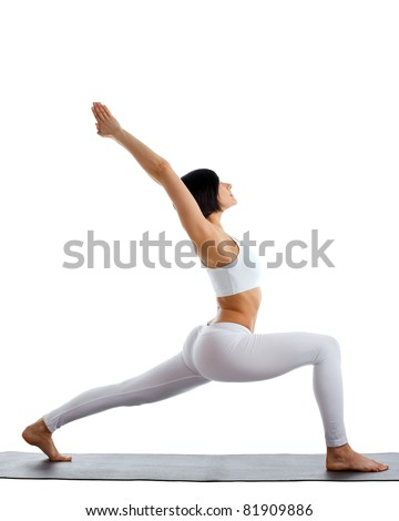 woman exercise yoga pose on rubber mat isolated - stock photo