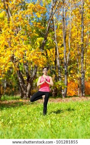 Woman Exercises in the autumn forest yoga Vrikshasana Tree Pose - stock photo