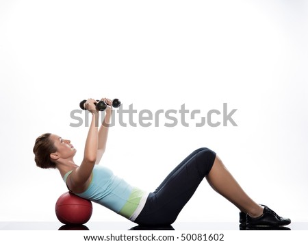 woman exercising abdominal workout on white background with weights