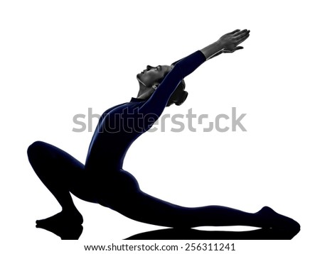 woman exercising Anjaneyasana lunge pose yoga silhouette shadow white background - stock photo