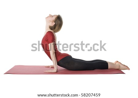 Woman exercising on a mat over white background - stock photo