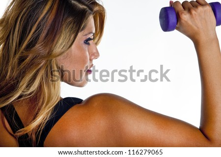 Woman exercising with dumbell weights isolated on white. - stock photo