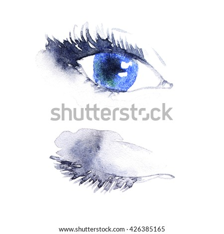 Woman eye .abstract watercolor .fashion background. Open and close woman eye.