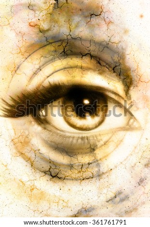 Woman Eye and abstract color background, eye contact - stock photo