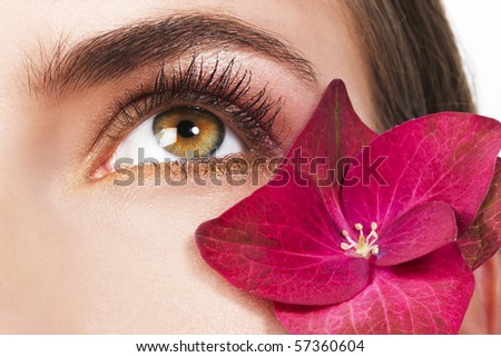 Woman eye and pink flower