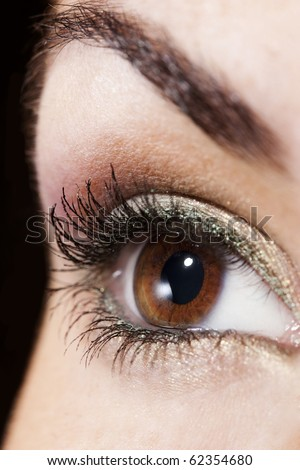 Woman eye with beautiful golden make up - stock photo