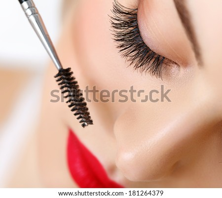 Woman eye with beautiful makeup and long eyelashes. Mascara Brush. High quality image. - stock photo