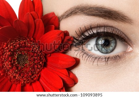 woman eye with beautiful makeup and red flower - stock photo