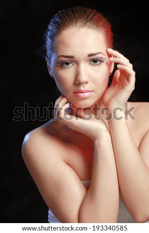 Woman eye with exotic style makeup - stock photo