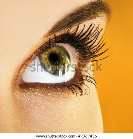 Woman eye with golden makeup - stock photo