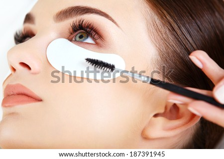 Woman eye with long eyelashes. Mascara Brush. High quality image. - stock photo