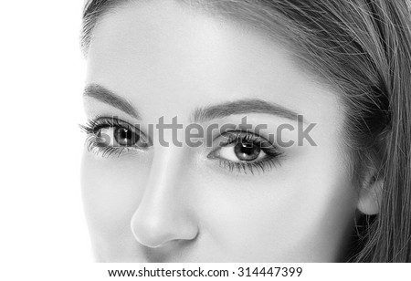 Woman eyes black and white - stock photo