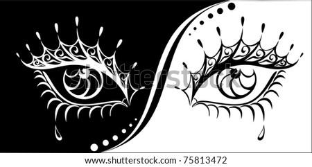 Woman eyes illustration. - stock photo