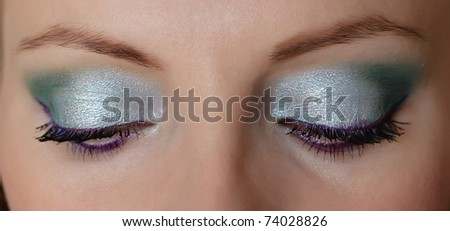 Woman eyes with long eyelashes and makeup - stock photo