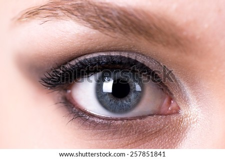 woman eyes with makeup close up