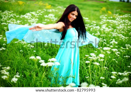 woman fabric in hands - stock photo