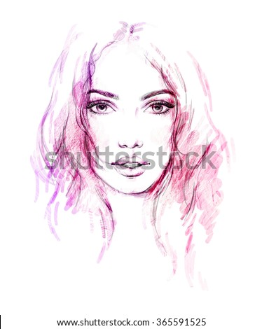 woman face. abstract fashion illustration - stock photo