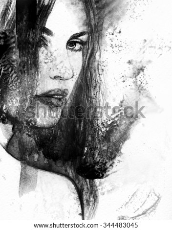 Woman face. Abstract watercolor illustration - stock photo