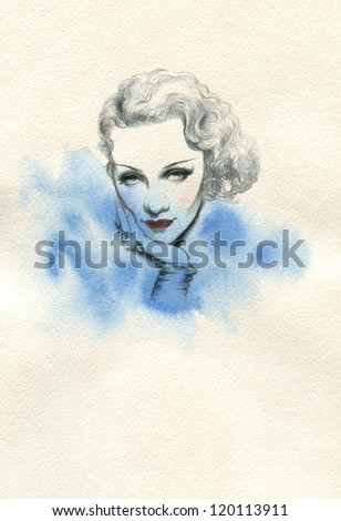 Woman face.  Actress Marlene Dietrich. Hand painted fashion illustration - stock photo