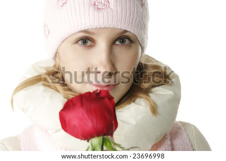Woman face and flower focus on eyes