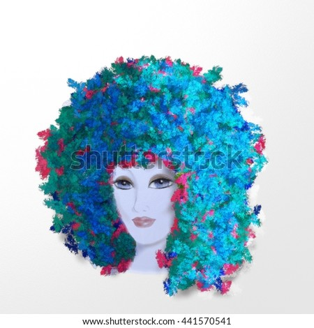 woman face blue hair white background