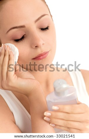 Woman face care - stock photo