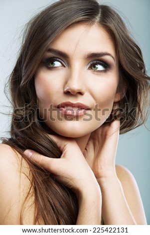 Woman face close up beauty portrait. Female model white background isolated. - stock photo