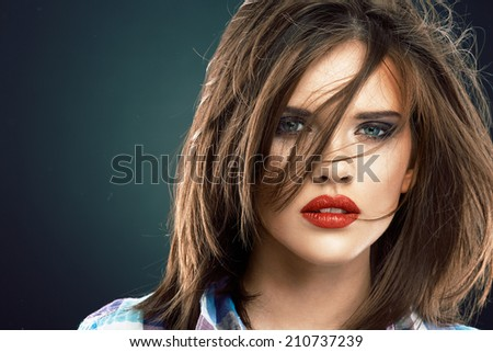 Woman face close up beauty portrait. Female model with long hair. - stock photo