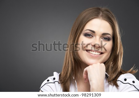 Woman face close up portrait isolated on gray. - stock photo