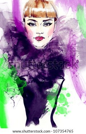 Woman face. Creative hand painted fashion illustration - stock photo