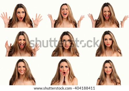 woman face expressions composite isolated on white background - stock photo