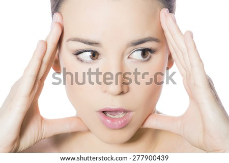 Woman face fear emotion - stock photo