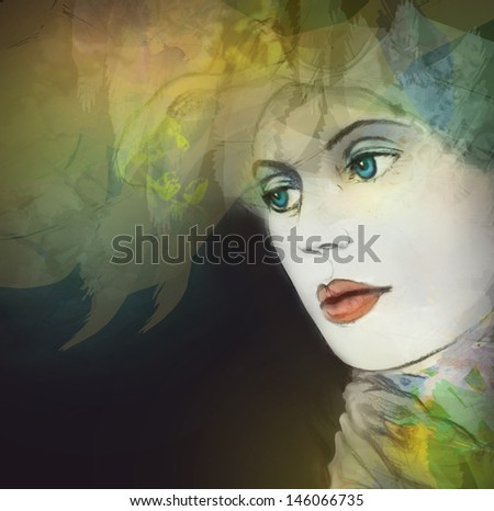 Woman face. Hand painted illustration.