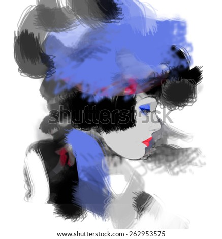 Woman face. Hand painted illustration - stock photo