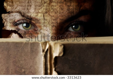 Woman face like a torn paper with old Bible book