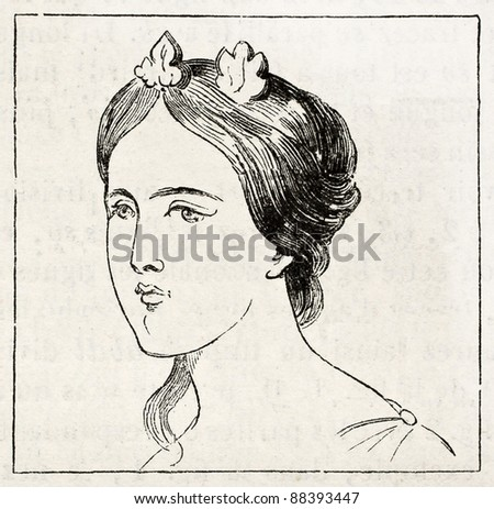 Woman face old illustration. By unidentified author, published on Magasin Pittoresque, Paris, 1844 - stock photo