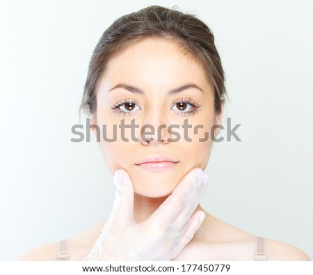 woman face portrait , preparing for injection.