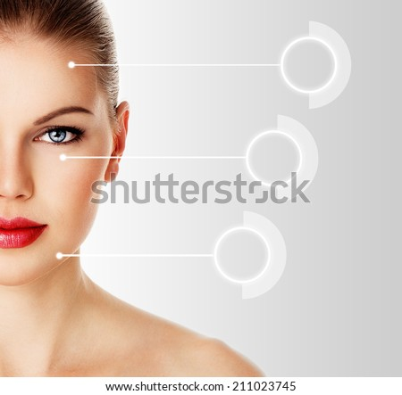 Woman face ready for syringe or cosmetic injection. Studio shoot of beautiful Caucasian female model with laser lines on her face.   - stock photo