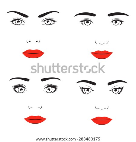 Woman face silhouette set. Elegance vision, appearance personality, femininity beautiful - stock photo