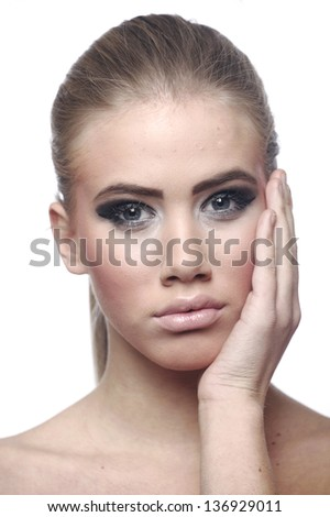 Woman face, skin problems - stock photo