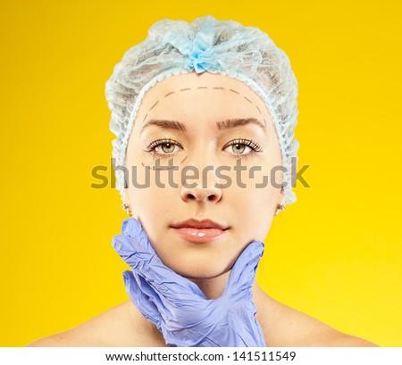 Woman face surgery close up portrait. Female model - stock photo